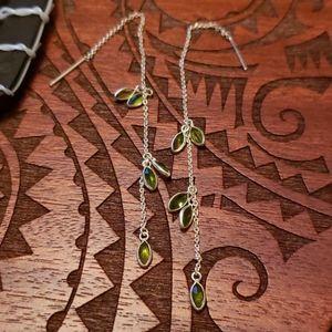 Sterling dangling peridot earrings
